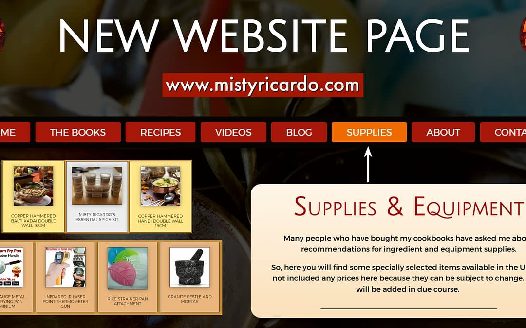 New Website Page – Supplies & Equipment