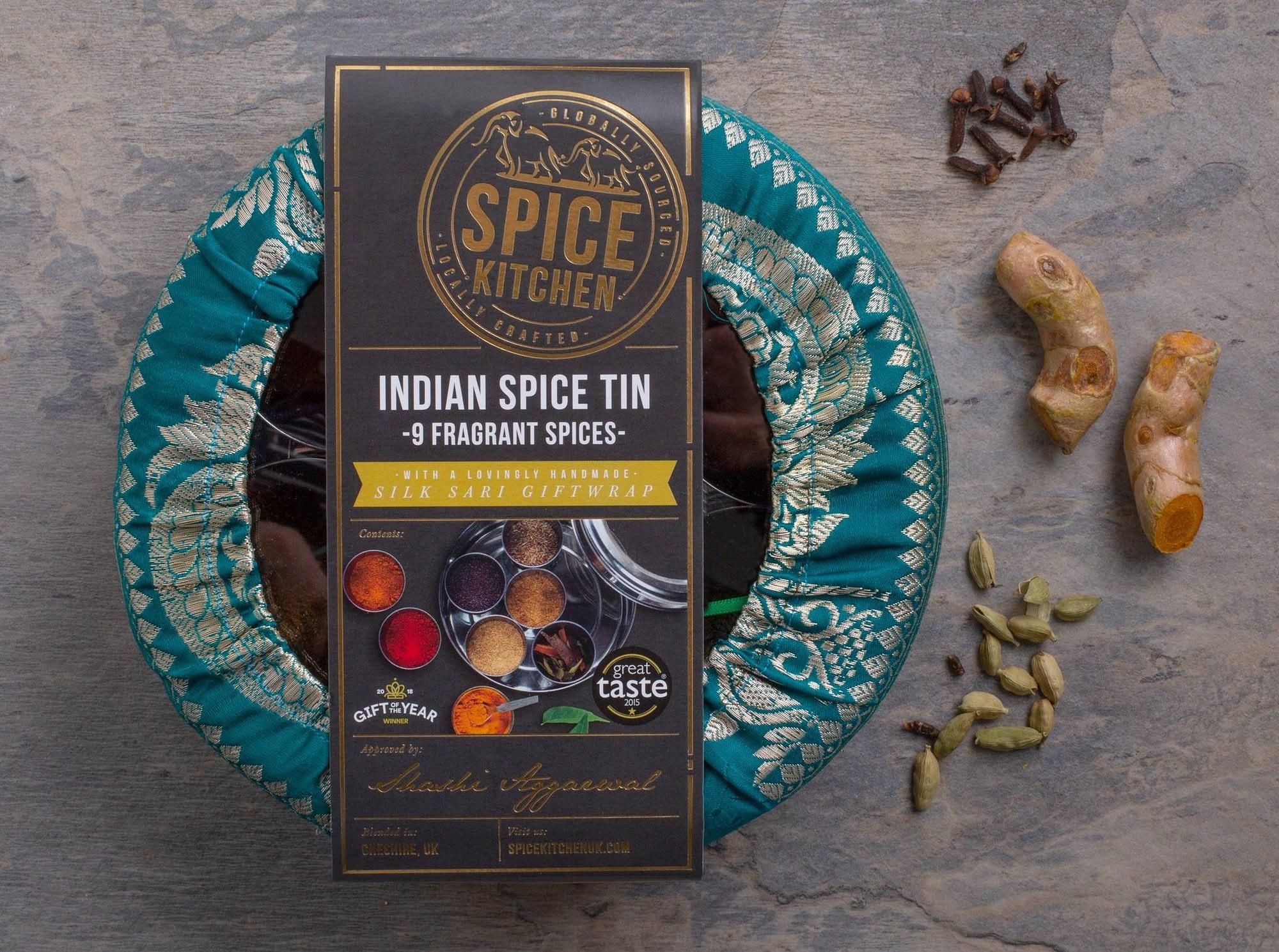 Masala Dabba, Spices, & Sari Wrap from Amazon (Spice Kitchen UK)