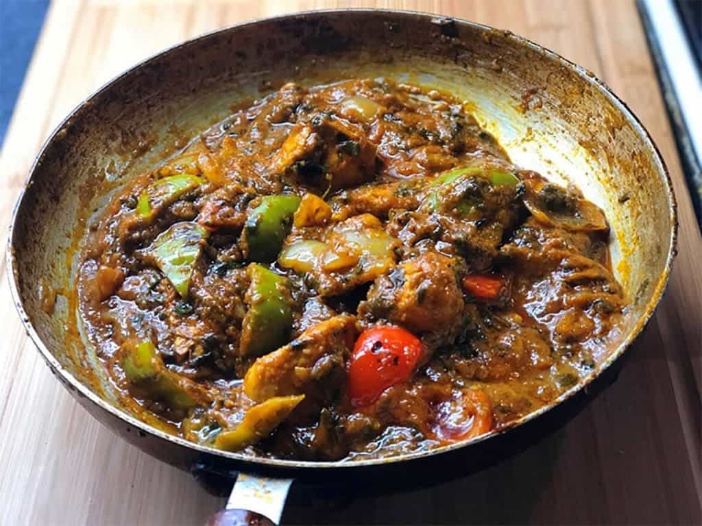 Chicken Jalfrezi Curry in Frying Pan