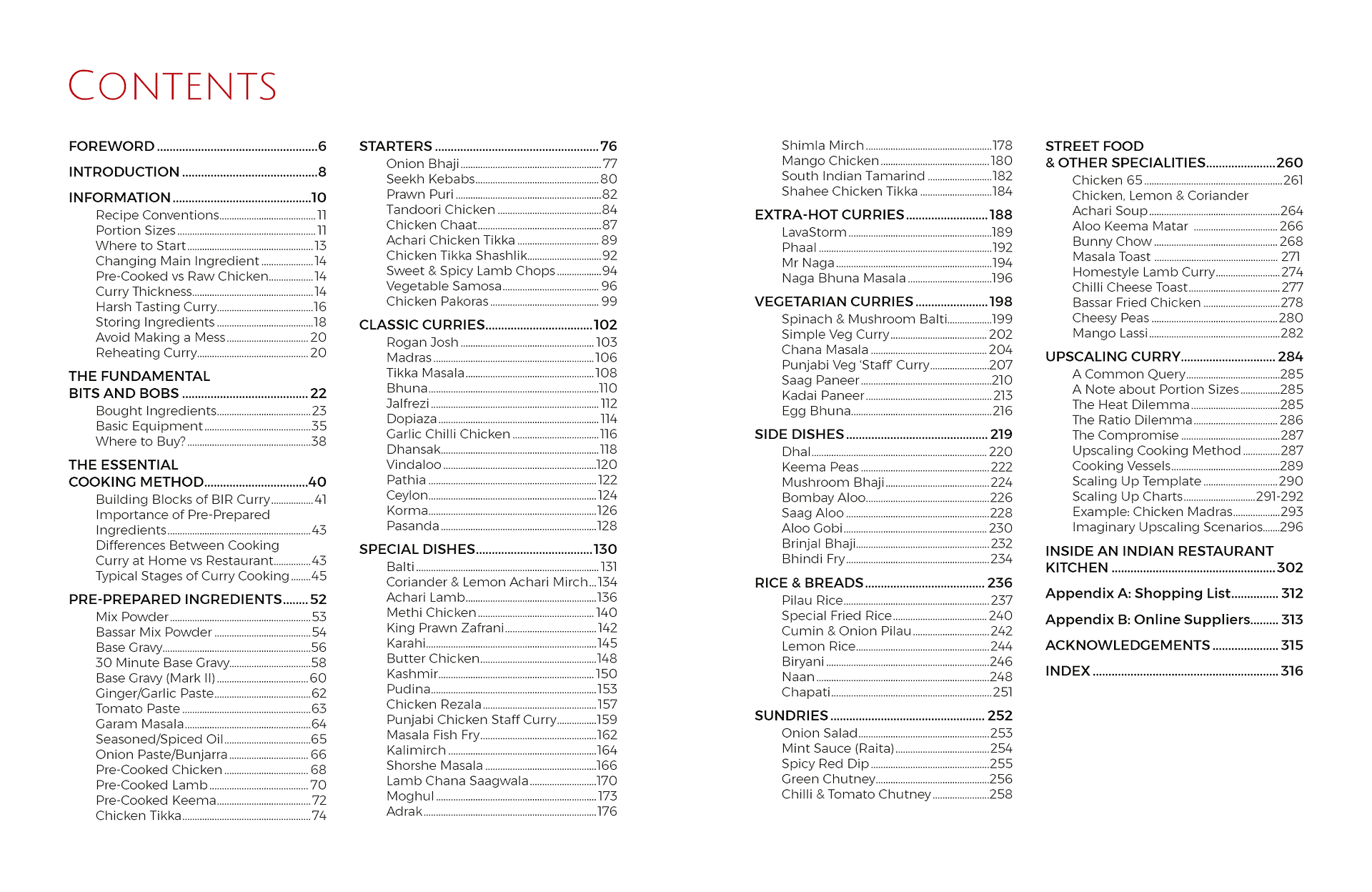 Contents Page from Curry Compendium